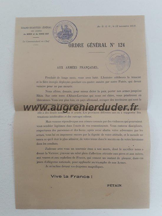 Ordre général Pétain n°124 Novembre 1918
