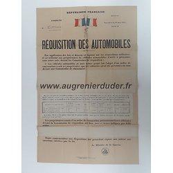 Affiche réquisition automobiles France ww2