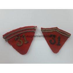 Paire pattes de col 31 ème artillerie France ww1