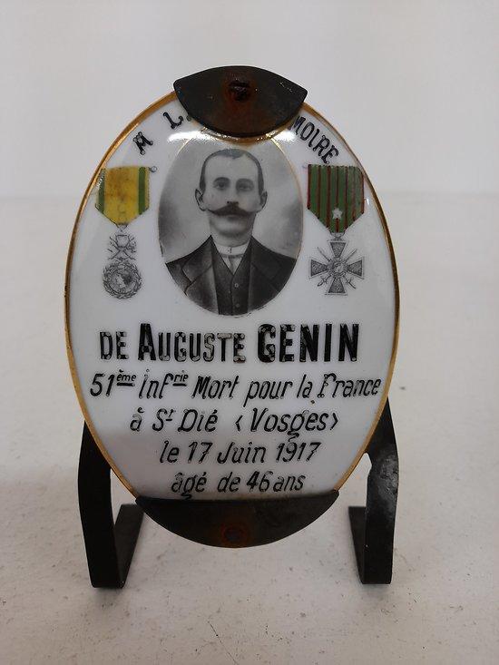 Plaque mémoire Auguste Genin 51ème RI France ww1