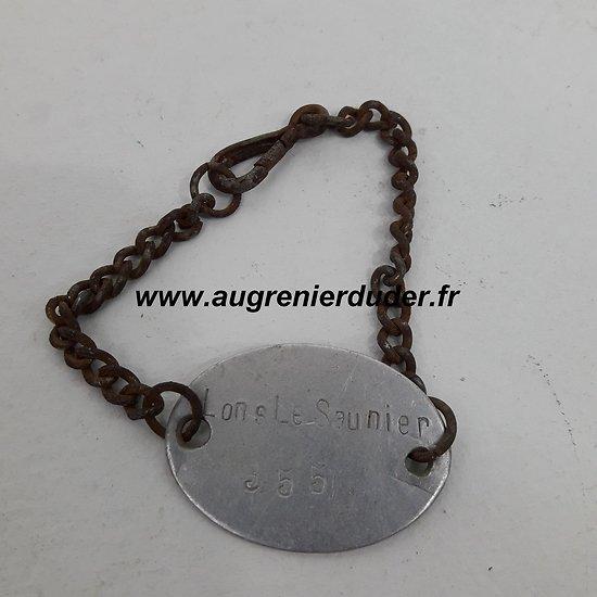 Gourmette plaque identité France wwI