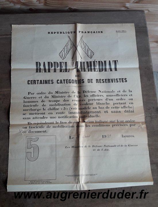 Affiche rappel des réservistes 1939 France