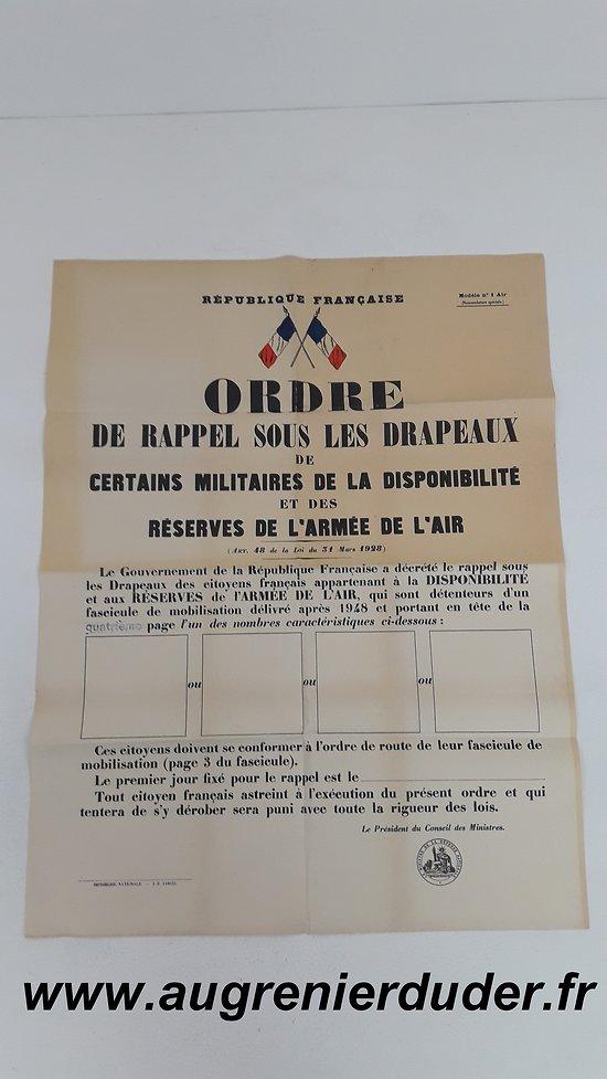 Ordre de mobilisation n°1 Air 1948 France