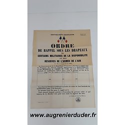 Ordre de mobilisation n°1 Air 1948 France
