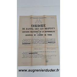 Ordre de rappel sous les drapeaux n°8 1945 France