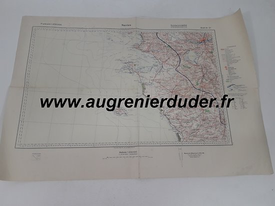 Carte routière Nantes 1936 Allemagne wwII