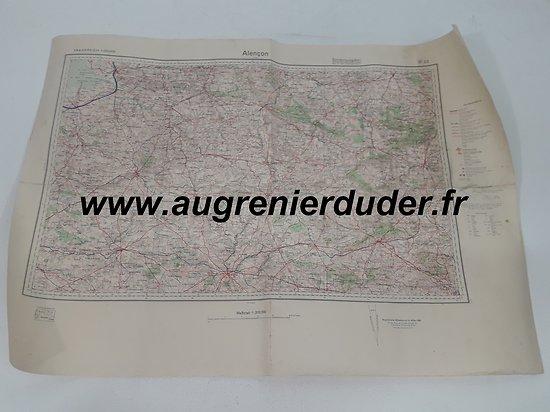 Carte routière Alençon 1936 Allemagne wwII
