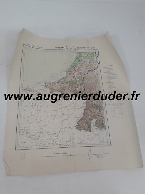 Carte routière Bayonne 1936 Allemagne wwII