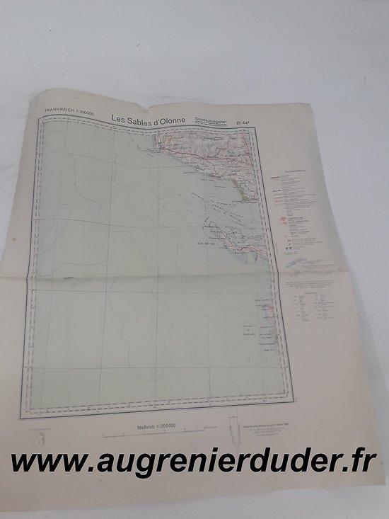 Carte routière Sables d'Olonne 1936 Allemagne wwII
