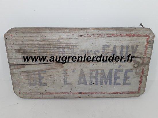 """Panneau bois """" service des eaux Armée """" France wwI wwII"""