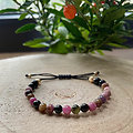 Bracelet Duo tourmaline noire et multicolore