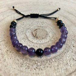Bracelet Duo améthyste et obsidienne