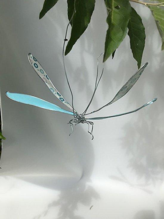 Mobile Libellule à suspendre partout dans la maison en acier et papier turquoise