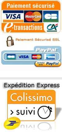 Paiement sécurisé par le Crédit Agricole - Livraison assurée par Colissimo la Poste