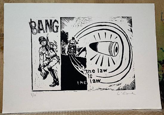 VIDE ATELIER gravure sur bois BANG Noir et blanc