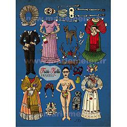 Impression d'art Frida Kahlo Poupée de papier