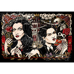 Impression d'art Morticia et Mercredi Addams