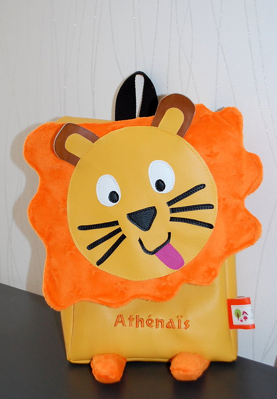 1-Cartable, Sac à dos lion personnalisable