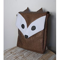 5- Cartable, sac à dos renard simili galuchat marron