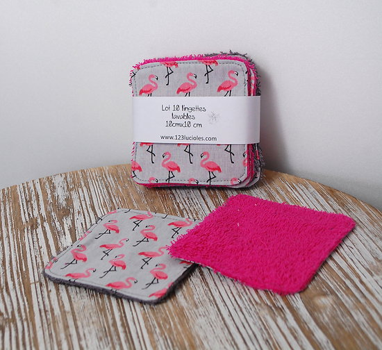 DISPONIBLES-Lingettes lavables- modèle flamants roses Lot de 10-