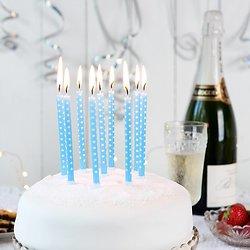 10 bougies anniversaire Bleu à Pois blanc