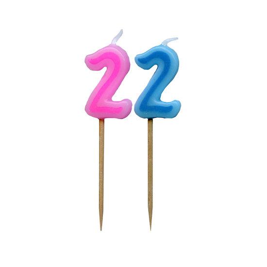 Bougie Chiffre 2 - Rose ou bleu