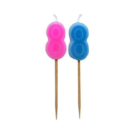 Bougie Chiffre 8 - Rose ou bleu