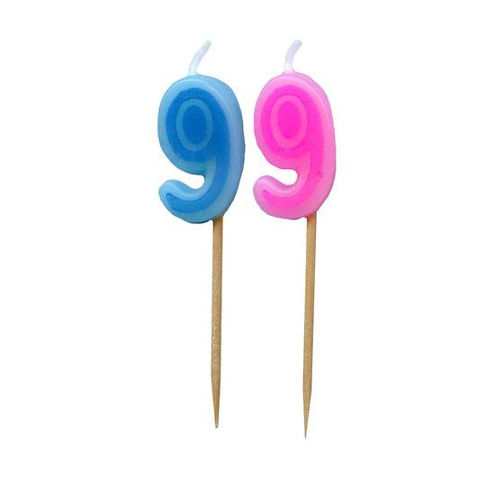Bougie Chiffre 9 - Rose ou bleu