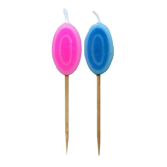 Bougie Chiffre 0 - Rose ou bleu