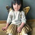 Sac à dos paillette Or avec ailes de papillon - Caramel et Cie