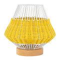 Lampe fil métal blanche et rotin jaune