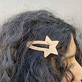 Grande barrette cheveux étoile - Rose poudre