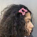 Barrette cheveux petit noeud tissus - Bubble Gum