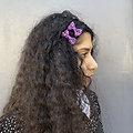 Barrette cheveux petit noeud tissus - Prune