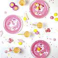 12 assiettes en carton anniversaire Licorne Rose