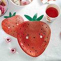 Serviette en papier en forme de fraise - Lot de 16