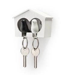Maison accroche-clés -  Oiseaux noir et blanc