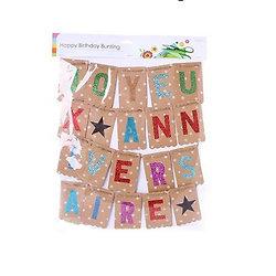 Banderole joyeux anniversaire craft et paillette