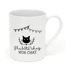 Mug porcelaine J'habite chez mon chat