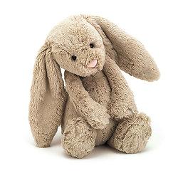 Peluche Jellycat lapin beige – Bashful beige bunny – Medium BAS3B 31cm