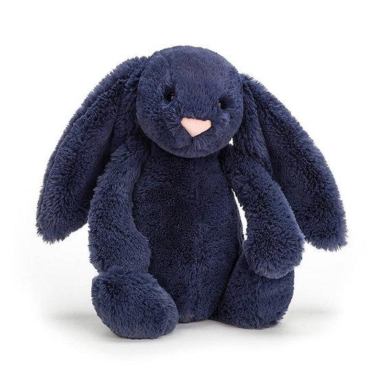 Peluche Jellycat lapin bleu marine – Blashful navy bunny – Medium BAS3NB 31cm