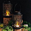 Lanterne photophore ajouré en métal - Arbre de vie