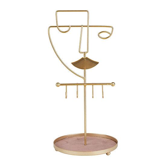 Porte Bijoux Visage stylisé Calder Or et velours rose