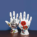 Porte bijoux main tatouée en ceramique - Déco rock style vintage - Love / Hate - Phrenologie