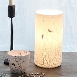 Lampe Oiseaux Porcelaine Cylindrique