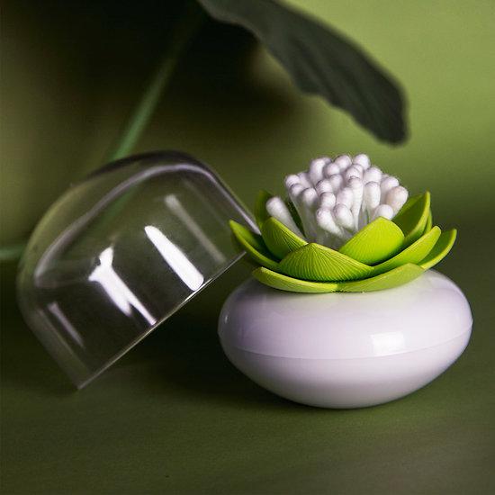 Distributeur de coton tige Lotus vert et blanc