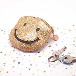 Porte monnaie Smiley cuir à paillettes iridescentes
