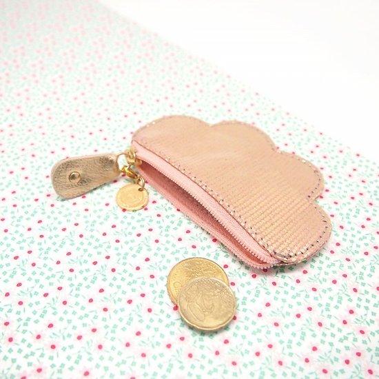 Porte monnaie nuage rose et or
