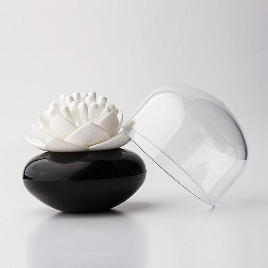 Distributeur de coton tige Lotus noir et blanc