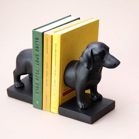 Serre Livres chien Charlie le Teckel en résine noir